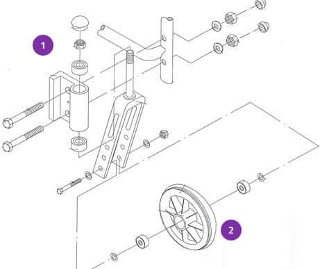Webster Lite 2 Front Castor Wheels - Full Assembly 3
